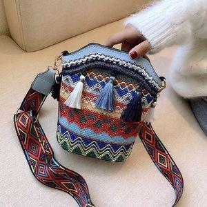 Boho Mini Guitar Strap Bucket Bag